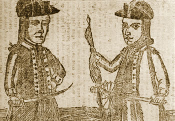 image: Woodcut of Daniel Shays and Job Shattuck
