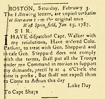 image: Luke Day's Letter to Daniel Shays Printed in the Gazette Concerning the Rendezvous at the Armory